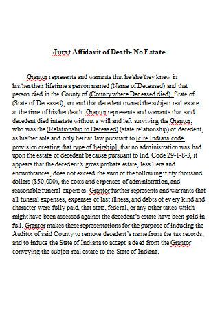 Affidavit of Death in DOC