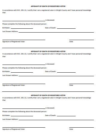 Affidavit of Death of Registered Voter
