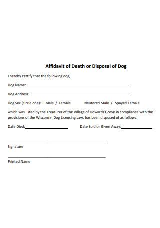 Affidavit of Death or Disposal of Dog