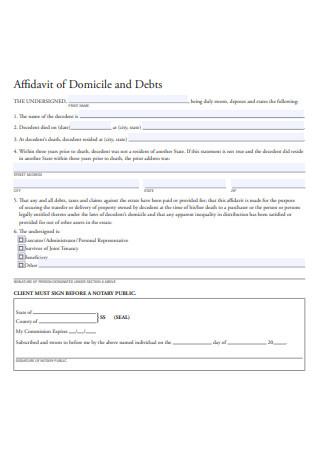 Affidavit of Domicile and Debts