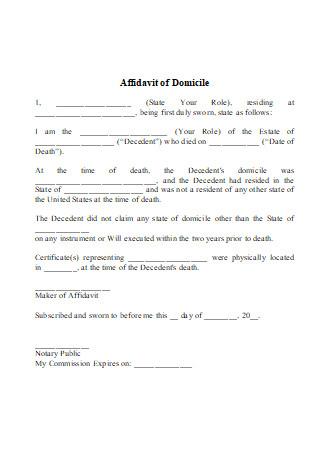 Affidavit of Domicile in DOC