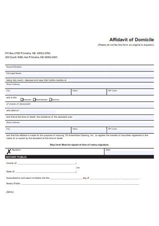 Affidavit of Domicile in PDF