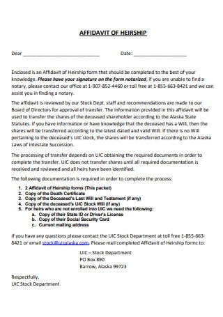 Affidavit of Heirship Example