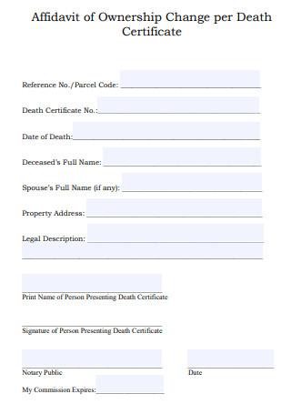 Affidavit of Ownership Change Death Certificate