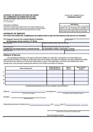 Affidavit of Service Example