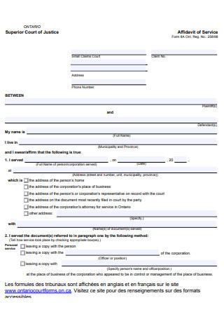 Affidavit of Service Format