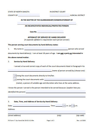 Affidavit of Service by Hand Delivery