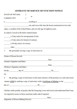 Affidavit of Service of Eviction Notice