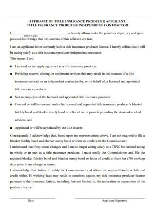 Affidavit of Title Insurance Producer