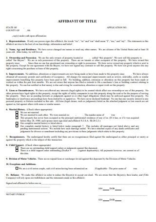 Affidavit of Title Template
