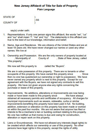 Affidavit of Title for Sale of Property