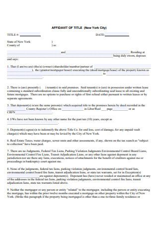 Affidavit of Title in PDF