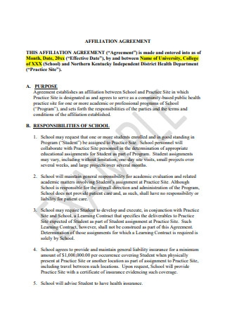 Affiliate Agreement Example
