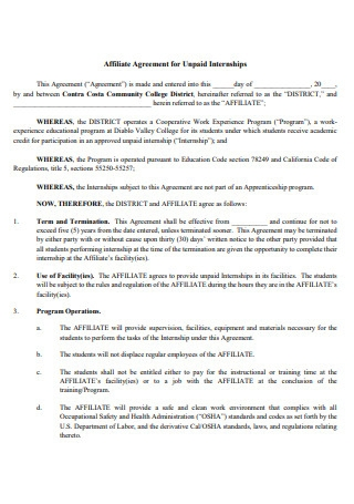 Affiliate Agreement For Unpaid Internships