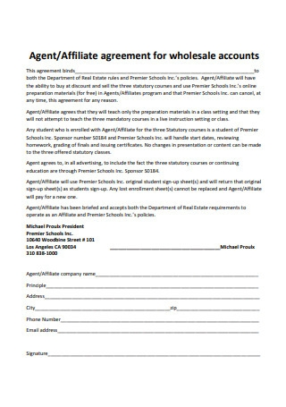 Affiliate Agreement For Wholesale Accounts