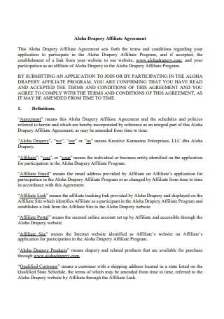 Affiliate Agreement Format