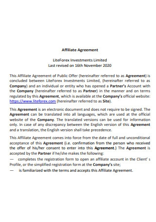 Affiliate Investment Agreement