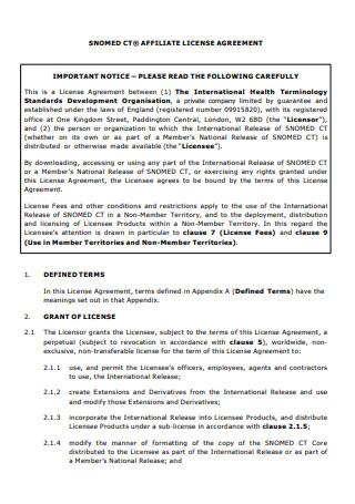 Affiliate License Agreement