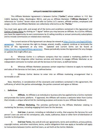 Affiliate Marketer Agreement