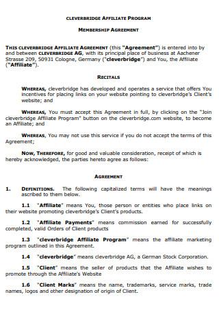 Affiliate Membership Agreement