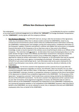 Affiliate Non Disclosure Agreement