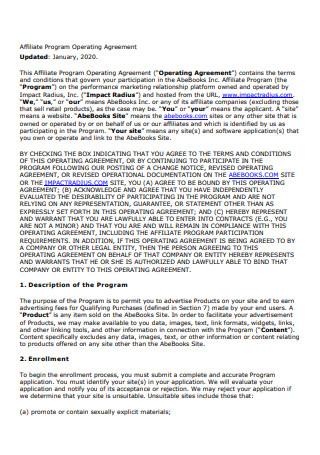 Affiliate Program Operating Agreement