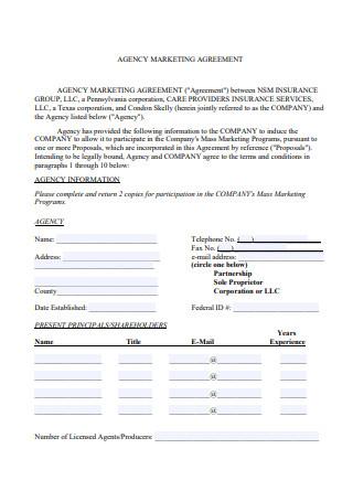 Agency Marketing Agreement