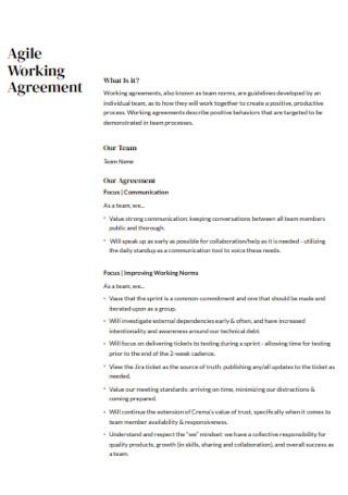 Agile Working Agreement