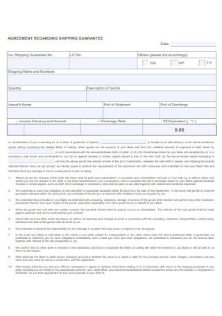 Agreement Regarding Shipping Guarantee