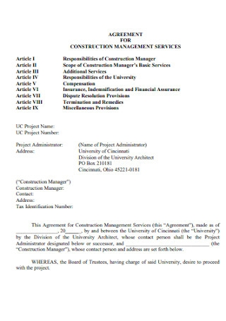 Agreement for Construction Management