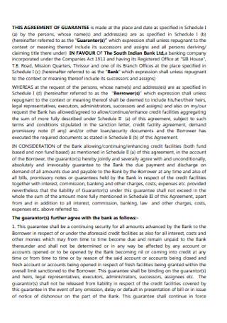 Agreement of Guarantee Format