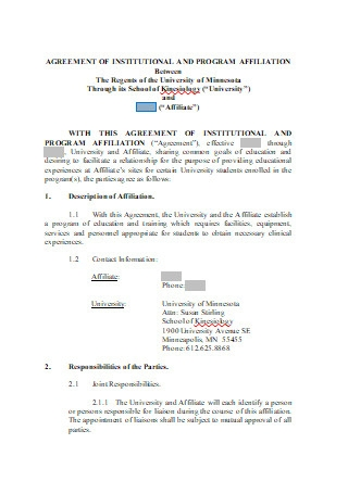 Agreement of Institutional and Program Affiliation