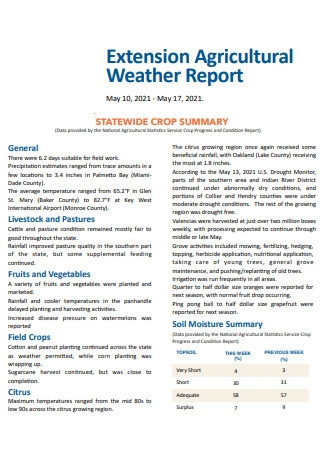 Agricultural Weather Report