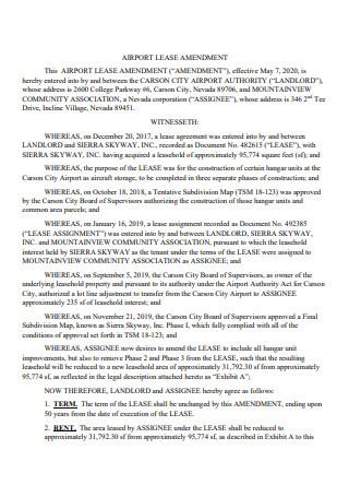 Airport Lease Amendment