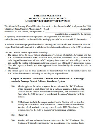 Alcoholic Beverage Control Bailment Agreement