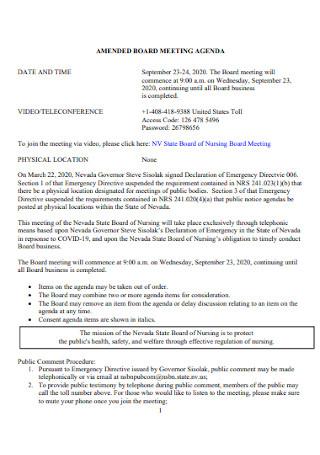 Amended Board Meeting Agenda