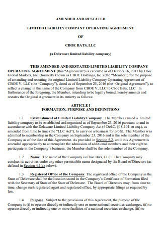 Amended and Restated Limited Liability Company Operating Agreement