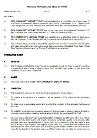 Amended and Rested Deed of Trust