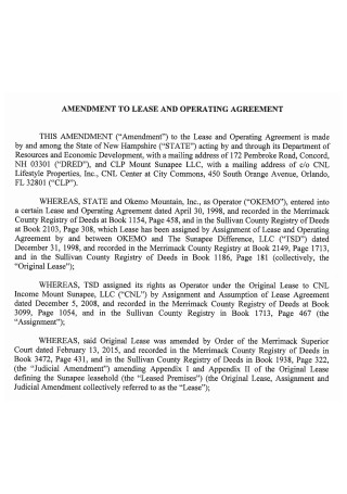 Amendment to Lease and Operating Agreement