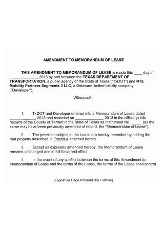 Amendment to Memorandum of Lease