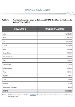 Animal Data Report