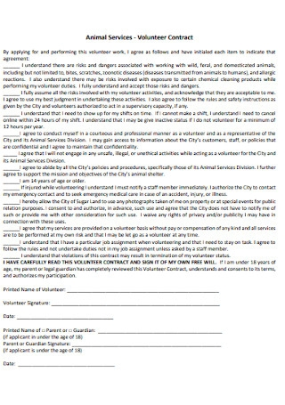 Animal Services Volunteer Contract
