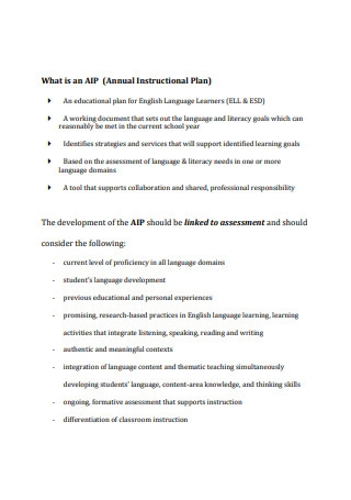 Annual Instructional Plan