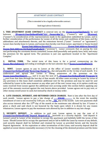 Apartment Lease Contract Example