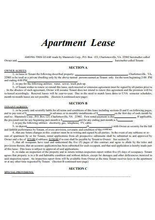 Apartment Lease Contract in PDF