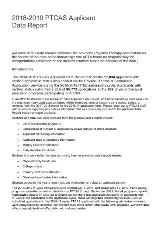 Applicant Data Report