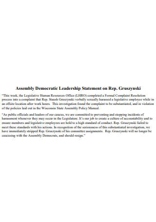 Assembly Democratic Leadership Statement