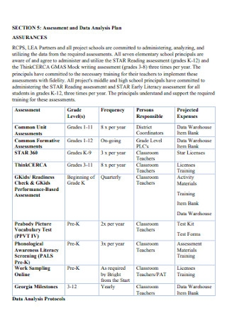 Assessment and Data Analysis Plan