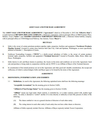 Asset Sale and Purchase Agreement Template