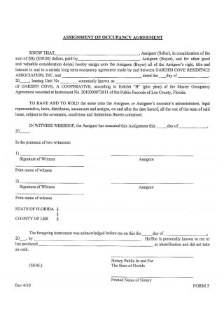 Assignment of Occupancy Agreement